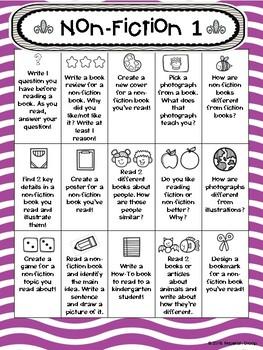 1st Grade Reading Non-Fiction Choice Boards