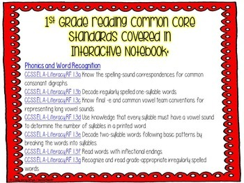 1st Grade Reading (Phonics & Word Rec) Interactive Journal {CCSS Aligned}