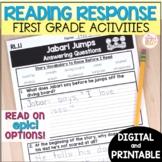 1st Grade Reading Response Activities - printable & digital