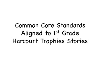 1st Grade Reading Standards for Harcourt Trophies