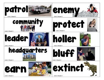 1st Grade Reading Street Amazing Words Vocabulary Word Wall Unit 2