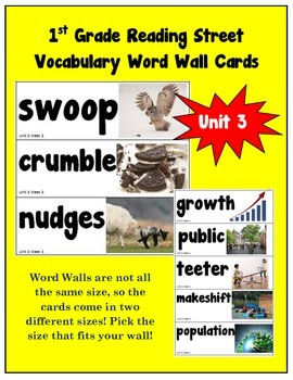 1st Grade Reading Street Amazing Words Vocabulary Word Wall Cards Unit 3