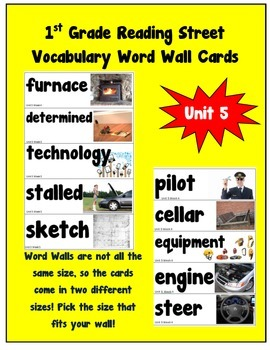 1st Grade Reading Street Amazing Words Vocabulary Word Wall Cards Unit 5