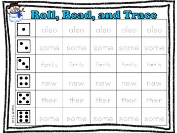 1st Grade Reading Street High Frequency Word- Roll, Read, & Trace *bundle