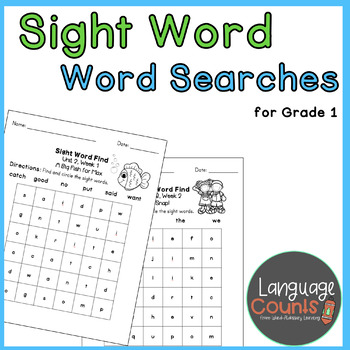 1st Grade High-Frequency Word Searches