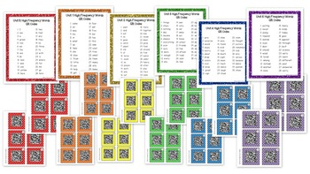 1st Grade Reading Street High Frequency Words QR Codes Bun