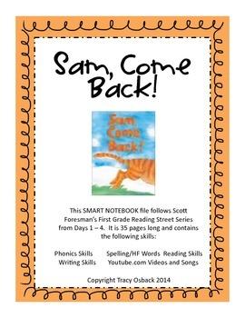 1st Grade Reading Street Sam, Come Back Smart Board Lesson