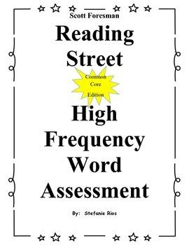 1st Grade Reading Street Sight Word Assessment