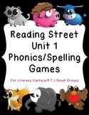 1st Grade Reading Street Unit 1 Phonics/Spelling Game Centers RTI Small Group