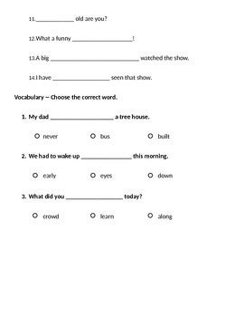 1st Grade Reading Street Unit 5 Phonics Test