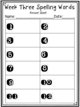 1st Grade Reading Street Unit Two Spelling