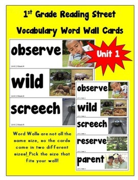 1st Grade Reading Street Amazing Words Vocabulary Word Wall Cards Unit 1