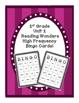 1st Grade Reading Wonders UNIT 1 High Frequency BINGO!