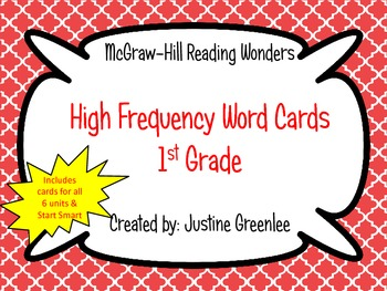 1st Grade Reading Wonders High Frequency Cards