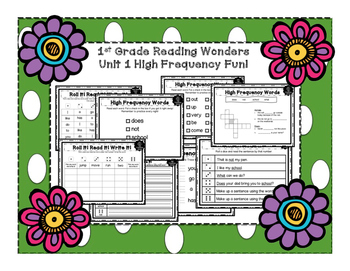 1st Grade Reading Wonders High Frequency FUN PACK for Smart Start & Unit 1