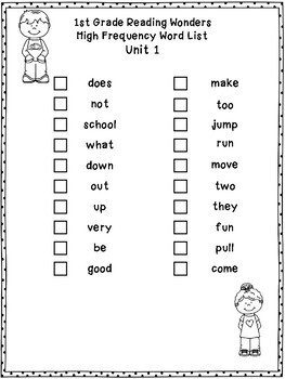 1st Grade Reading Wonders High Frequency Word Practice