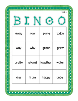 1st Grade Reading Wonders UNIT 3 High Frequency BINGO!