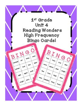 1st Grade Reading Wonders UNIT 4 High Frequency BINGO!