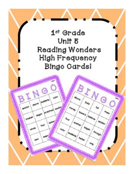1st Grade Reading Wonders UNIT 5 High Frequency BINGO!