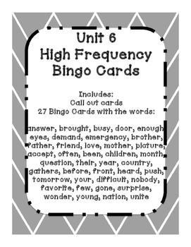 1st Grade Reading Wonders UNIT 6 High Frequency BINGO!