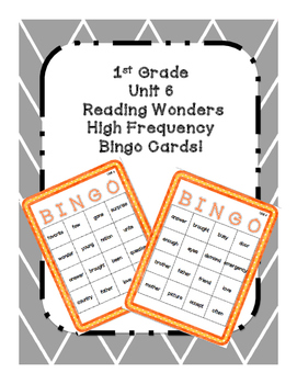 1st Grade Reading Wonders UNIT 6 High Frequency BINGO!