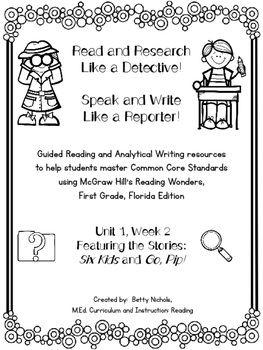 1st Grade Reading Wonders Unit 1 Week 2 Guided Reading & A