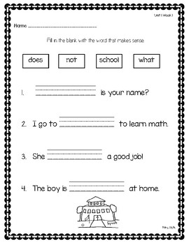 1st Grade Reading Wonders Weekly Word Work-Unit 1