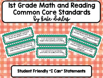 1st Grade Reading and Math Common Core Standards