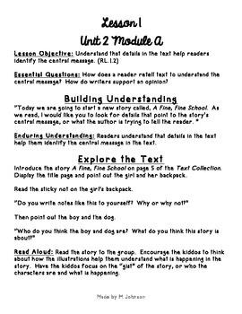 1st Grade ReadyGEN Unit 2 Module A Lesson 1 Outline
