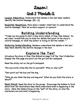 1st Grade ReadyGEN Unit 2 Module A Lesson 1 Outline
