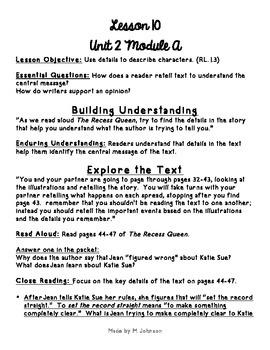 1st Grade ReadyGEN Unit 2 Module A Lesson 10 Outline