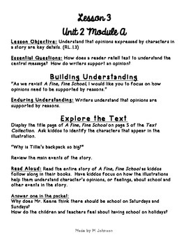1st Grade ReadyGEN Unit 2 Module A Lesson 3 Outline