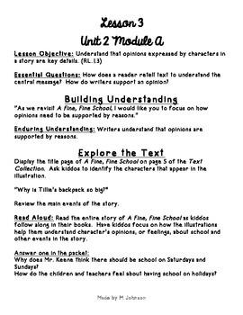 1st Grade ReadyGEN Unit 2 Module A Lesson 3 Outline