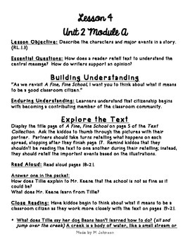 1st Grade ReadyGEN Unit 2 Module A Lesson 4 Outline