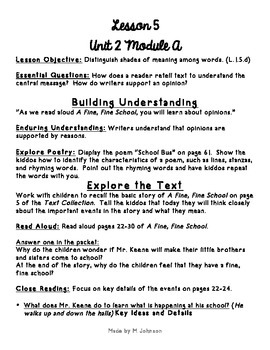 1st Grade ReadyGEN Unit 2 Module A Lesson 5 Outline