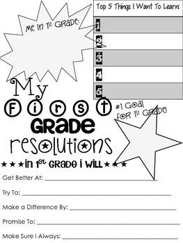 1st Grade Resolution Sheet