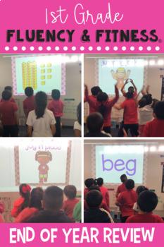 1st Grade Review Fluency & Fitness Brain Breaks Bundle