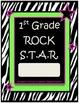 1st Grade Rock Star Binder-Folder Covers with Zebra Print Rockstar