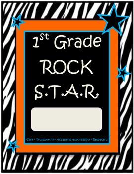 1st Grade Rock Star Binder-Folder Covers with Zebra Print Modified Rockstar