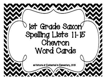 1st Grade Saxon Spelling Lists 11-15 Chevron Word Cards
