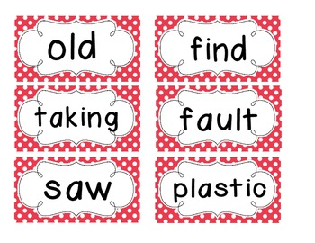 1st Grade Saxon Spelling Lists 21-25 Red Polka Dot Word Cards