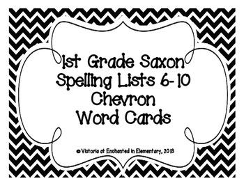 1st Grade Saxon Spelling Lists 6-10 Chevron Word Cards