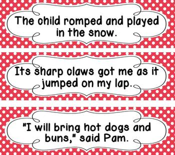 1st Grade Saxon Spelling Red Polka Dot Word and Sentence Cards Bundle