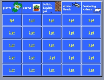 1st Grade Science Jeopardy Review