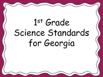1st Grade Science Standards for Posting-- for Georgia