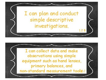 1st Grade Science TEKS I Can Statements Chalkboard Theme