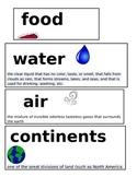 1st Grade Science Vocabulary Cards