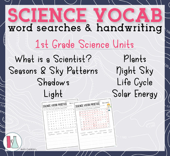 1st Grade Science Vocabulary Word Searches