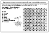 1st Grade Science Vocabulary, Year long, Word Search Puzzle Worksheets, No Prep