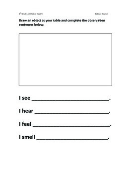 1st Grade Science as Inquiry Unit: Lesson Plans, Journal Pages, Assessment